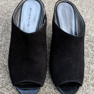 Bandolino Black Open Toe Leather Wedges Size 7M